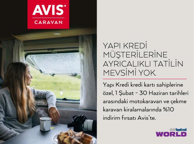 Avis Caravan'da Yapı Kredi Müşterilerine %10 İndirim!